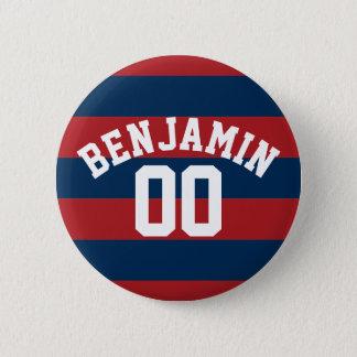 Badge Rond 5 Cm Nombre nommé de rayures de rugby de bleu marine et