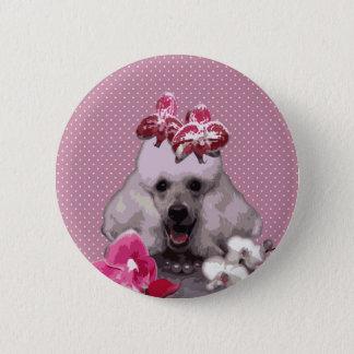 Badge Rond 5 Cm Norme rose de caniche, bouton rond de pouce de 2 ¼