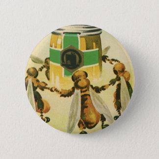 Badge Rond 5 Cm Nourriture vintage, abeilles organiques de miel