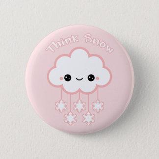 Badge Rond 5 Cm Nuage rose mignon de neige
