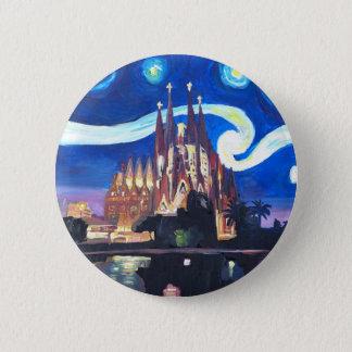Badge Rond 5 Cm Nuits étoilées à Sagrada Familia à Barcelone