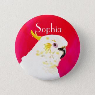 Badge Rond 5 Cm Oiseau lumineux de cacatoès