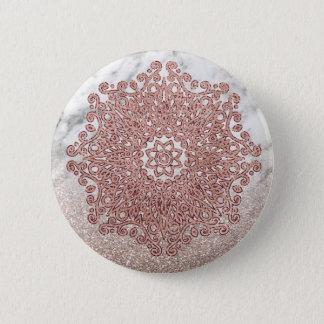 Badge Rond 5 Cm Ombre rose de parties scintillantes de marbre de