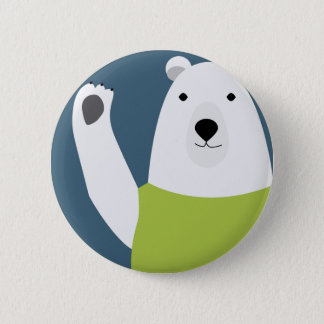 Badge Rond 5 Cm Ondulation d'ours blanc