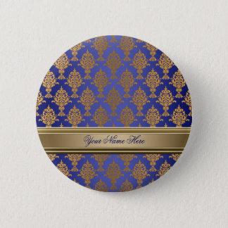 Badge Rond 5 Cm Or de damassé sur le bleu royal