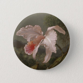 Badge Rond 5 Cm Orchidées et colibris de jungle
