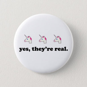 Badge Rond 5 Cm Oui, ils sont vraie licorne   drôle Emoji