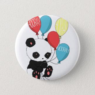 Badge Rond 5 Cm Panda d'anniversaire avec des ballons