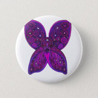 Badge Rond 5 Cm Papillon d'ange dans le rose et le pourpre