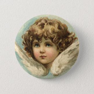 Badge Rond 5 Cm Pâques vintage, ange victorien avec des fleurs de