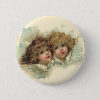 Badge Rond 5 Cm Pâques vintage, nuages angéliques d'anges dans le
