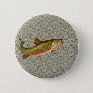 Badge Rond 5 Cm Pêche vintage de mouche à truite arc-en-ciel