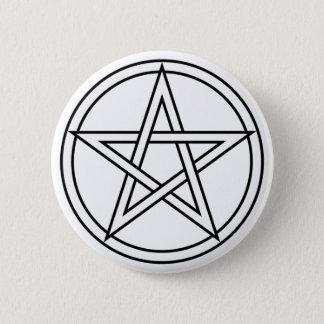 Badge Rond 5 Cm Pentagramme blanc entrelacé