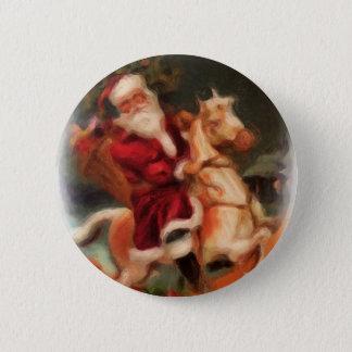 Badge Rond 5 Cm Père Noël sur le cheval de basculage