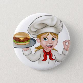 Badge Rond 5 Cm Personnage de dessin animé de femme de chef tenant