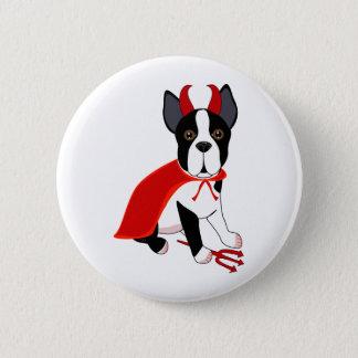 Badge Rond 5 Cm Petit chien de Halloween de diable