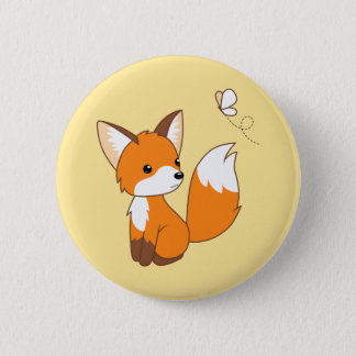 Badge Rond 5 Cm Petit papillon de observation mignon de Fox