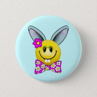 Badge Rond 5 Cm Pin souriant de visage de lapin mignon de fille