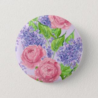 Badge Rond 5 Cm Pivoines et lilas d'aquarelle