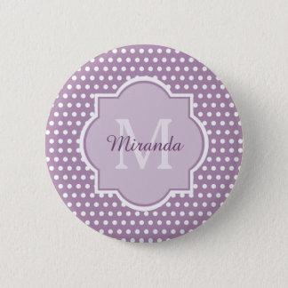 Badge Rond 5 Cm Pois pourpre monogramme et nom de lavande Girly