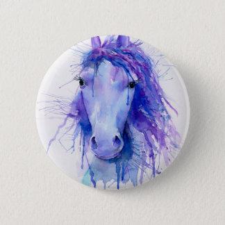 Badge Rond 5 Cm Portrait abstrait de cheval d'aquarelle