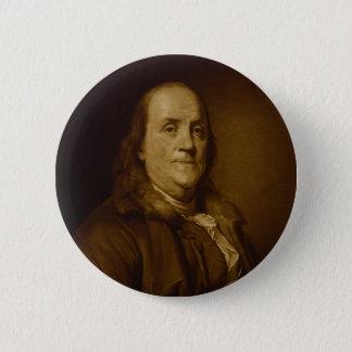 Badge Rond 5 Cm Portrait principal de Benjamin Franklin et