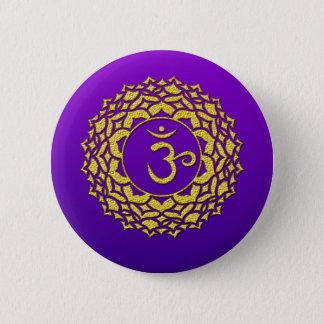 Badge Rond 5 Cm Pourpre de Chakra de couronne