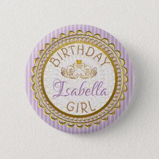 Badge Rond 5 Cm Pourpre et bouton de fille d'anniversaire d'or