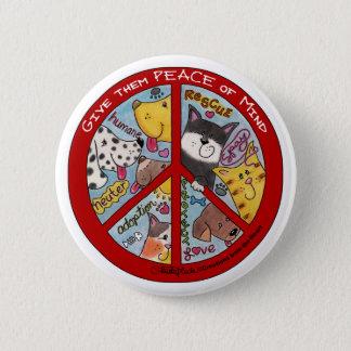 Badge Rond 5 Cm Protection de Signe-Animal de paix