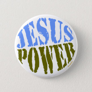 Badge Rond 5 Cm Puissance de Jésus bleue et verte