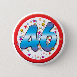 Badge Rond 5 Cm quarante-sixième Anniversaire