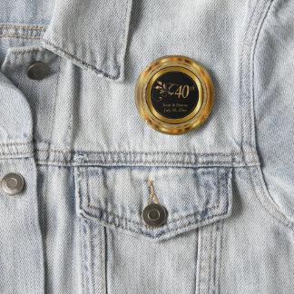 Badge Rond 5 Cm quarantième Anniversaire en or
