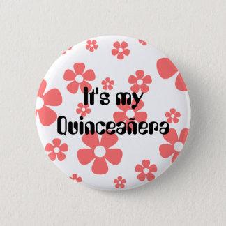 Badge Rond 5 Cm Quinceañera - goupille rose de fleurs
