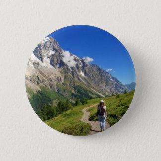 Badge Rond 5 Cm randonneur en vallée de furet, Italie