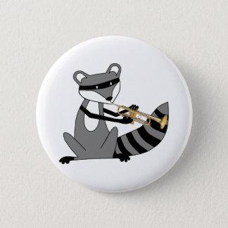 Badge Rond 5 Cm Raton laveur jouant la trompette