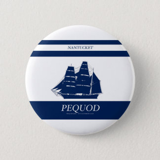 Badge Rond 5 Cm rayure bleue de pequod
