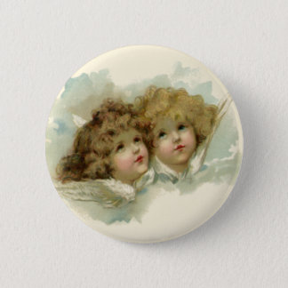 Badge Rond 5 Cm Religion vintage, anges victoriens dans les nuages