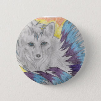 Badge Rond 5 Cm Renard coupé la queue par neuf - dessin