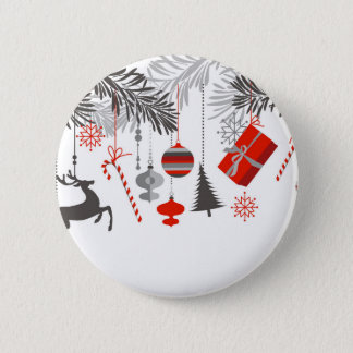 Badge Rond 5 Cm Rétros ornements rouges et gris modernes de Noël