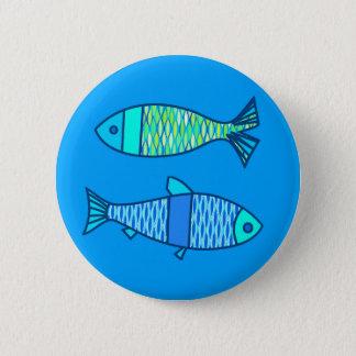 Badge Rond 5 Cm Rétros poissons modernes, turquoise et bleu