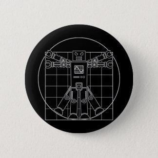 Badge Rond 5 Cm Robot de da Vinci Vitruvian