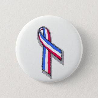 Badge Rond 5 Cm Ruban blanc et bleu rouge