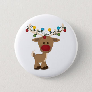 Badge Rond 5 Cm Rudolph_with_Christmas_Lights