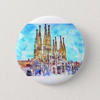 Badge Rond 5 Cm Sagrada Familia Barcelone