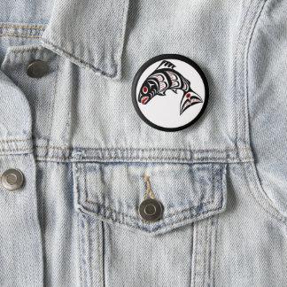 Badge Rond 5 Cm Saumon du nord-ouest d'art de Haida de Côte