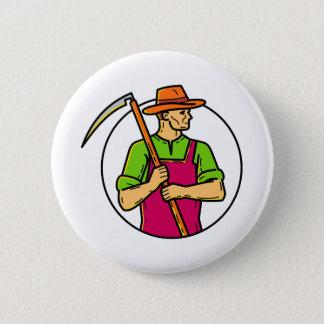 Badge Rond 5 Cm Schéma mono faux organique d'agriculteur