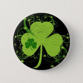 Badge Rond 5 Cm Shamrock irlandais vert
