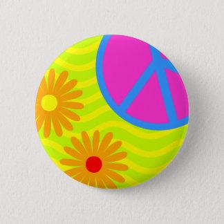 Badge Rond 5 Cm signe et fleurs de paix hippie des années 70