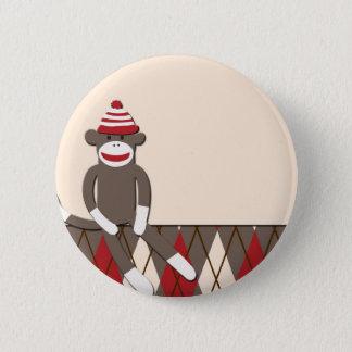 Badge Rond 5 Cm Singe à motifs de losanges de chaussette