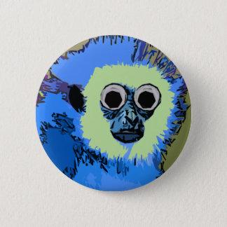 Badge Rond 5 Cm Singe bleu avec les yeux écarquillés